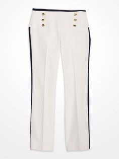 Steve Harvey Ivory & Navy Sailor Button Pants