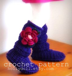 Crochet pattern toddler cozies cozy boots for boys by HollyDoll, $5.00