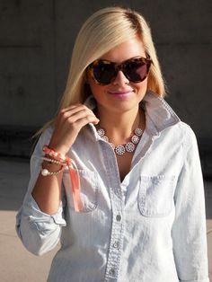 hair colors, fall fashions, fashion ideas, statement necklaces, sunglass, carolina girl, denim shirts, southern charm, crystal
