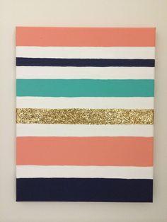 #DIY #Canvas #Stripes #Glitter