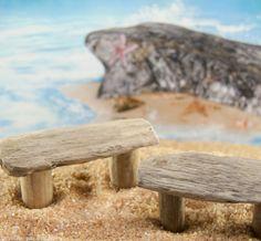 Mini Driftwood Bench on the fairy garden beach.