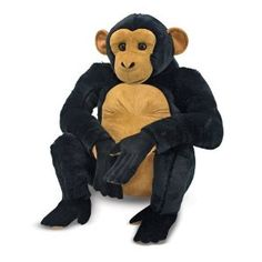 """Swinging from the treetops and into your arms, this chimp is ready to """"monkey"""" around with your heart! This lifelike chimpanzee features excellent quality construction and special attention to detail. It has a charming expression and long, loving arms for lots of hugs. http://www.my-linker.com/hop/chimpanzee"""