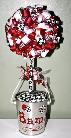 Alabama Ribbon Topiary by ForHisGlorybyLeilani on Etsy, $12.00