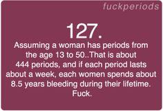 Period Problem #127.  Seriously periods suck