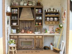Dollhouse RoomBox Kitchen Fully Equipped , Set Scale 1:12