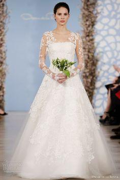 oscar de la renta bridal market 2014 lyon chantilly lace tulle strapless gown