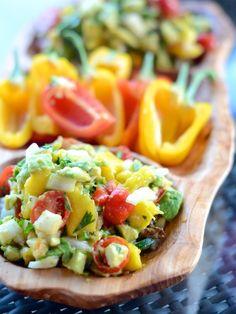 salad, avocado salsa, camill style, food, mango avocado