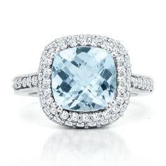 Cushion Cut Aquamarine Ring -