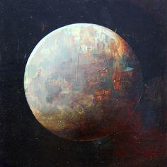 "Saatchi Online Artist Joshua Bronaugh; Painting, ""Red moon"" #art"