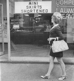 Mini skirts shortened - 1960s.