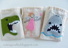 Tooth fairy bags with free patterns!