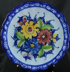 Large Vintage Hand-Painted Portuguese Majolica Charger Plate signed Alcobaca charger plates, plate collect, plate sign