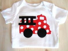 Baby Boy Clothes - Baby Boys Fire Truck  Shirt Onesie - Red Fire Truck - Baby Firefighter Fireman - First Birthday Party - Boys 1st Birthday...