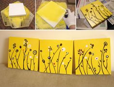 colors, diy paint, yellow, cherries, blog, painted canvas, canvases, paint canva, cherry blossoms