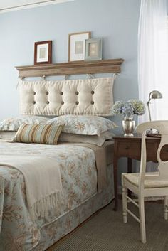 diy headboard... thinking of doing this to spice up the decor in my master bedroom.