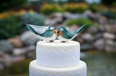 Chipper Chickadee Love Bird Cake Topper in Forest Green and Copper: Unique, Rustic Bride and Groom Wedding Cake Topper / Christmas Ornament via Etsy