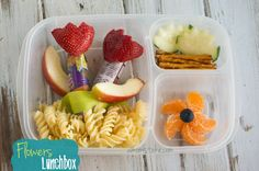 Flower themed bento lunch box and more fun + easy lunchbox ideas for kids
