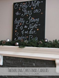 so easy, a black canvas from Hobby Lobby with a few holes drilled in it, a battery operated string of lights, and paint