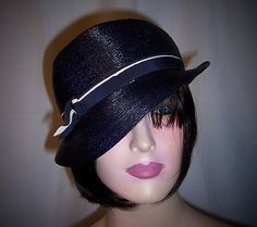 1920's Simple Navy Straw Cloche with Navy/White Grosgrain Ribbon