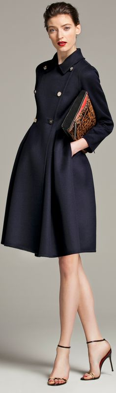 CH Carolina Herrera Fall 2013- Navy coat dress
