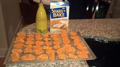 Make your own chicken nuggets! All you need is 2 or 3 chicken breasts, olive oil, and Shake N Bake. Grease cookie sheet with 2tbsp of olive oil, cut chicken breasts into nugget pieces, shake in Shake N Bake. Cook in the oven for 20 to 25 minutes at 350°. Let them cool off for 2 or 3 minutes, you can have them with bbq sauce, or make your own kind of sauce. Enjoy!