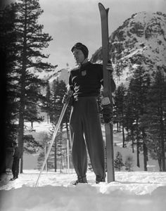 Not originally published in LIFE. A skier trains for the Olympics, Squaw Valley, California, 1950.
