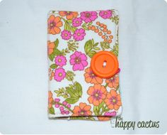 Pinka and Orange Flower Folded Wallet with by TheHappyCactus, $8.00