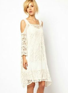 White off the shoulder lace loose chiffon dress crochet #fashion #boho