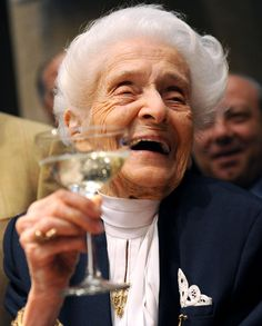 Rita Levi-Montalcini.  Nobel Prize winner.  Physician and cell biologist.  And 103 years old.