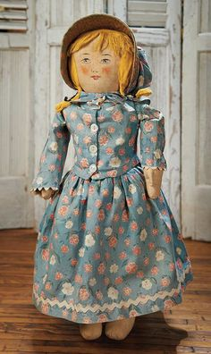 View Catalog Item - Theriault's Antique Doll Auctions Lot: 239. Rare American Patented Cloth Doll with Original Costume by Anne Maxwell
