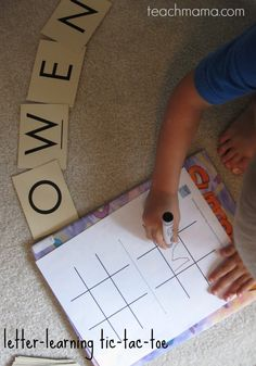 letter learning tic tac toe | teachmama.com --> free printables and a FUN way of helping kids learn their letters