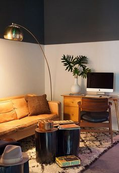 29 Cool Half-Painted Wall Decor Ideas : 29 Cool Half Painted Wall Decor Ideas With Brown Sofa And Wooden Desk And Chair And Standing Lamp And White Rug halfpaint wall