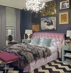 obsessed with this room and the color combination of Navy and Pink...