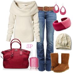 Perfect day for shopping or getting together with friends! This outfit features the UGG Classic Short Chestnut boots.