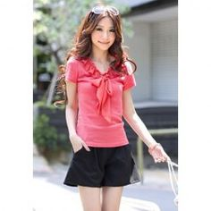 $4.48 Ladylike Chiffon Bowknot Tie Solid Color Summer Blouse For Women