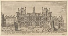 Israel Silvestre (French, Nancy 1621–1691 Paris). View of the facade of the Hôtel de Ville, Paris, in the foreground a cross on a stepped platform and a freestanding domed building, ca. 1636-1691. The Metropolitan Museum of Art, New York.  Bequest of Phyllis Massar, 2011 (2012.136.242)