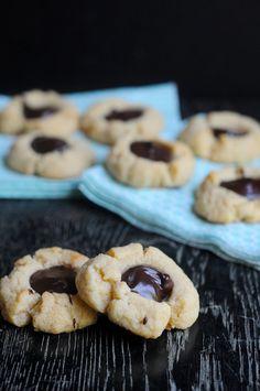 Gluten Free + Passover Friendly Almond Chocolate Thumbprint Cookies