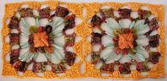 Square blooms joined with crochet by knittingand, via Flickr