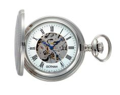 """Gotham Men's Silver-Tone Mechanical Pocket Watch with Desktop Stand # GWC14035S-ST Gotham. $89.95. Arrives in beautiful presentation box with Selvyt polishing cloth, lifetime limited warranty and operating instructions. Rich antique style blue cobalt hour, minute and seconds hands plus scratch resistant mineral crystal. Classic round silver-tone polished 17 jewel mechanical pocket watch suitable for engraving. Includes matching 15"""" curb pocket watch chain with spring ring attachm..."""