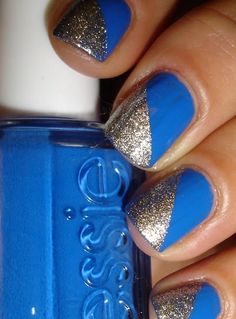 Blue and Silver Nail Designs-Great for Memphis Tiger Events!
