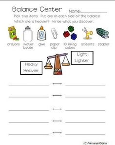 1st Grade Balance Activity --great for centers.  My 1st graders loved it so much they asked me to make a second one!