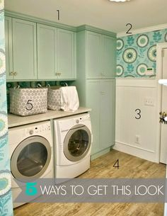 Laundry rooms can be so fun to decorate! Check out these ideas for getting a designer look for less at Infarrantly Creative.