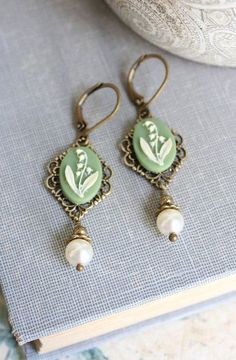 Lily of the Valley Earrings Pearl Dangle