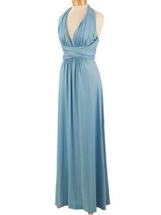 70's Blue Halter Style Maxi Dress Goddess Gown