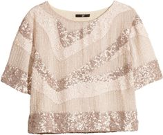 H&M Short Sequined Top >> pair with high waisted tulle ivory skirt.