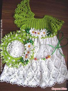 Pineapple baby dress crochet charts