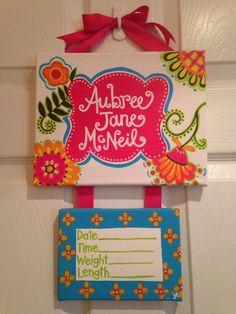 New baby door hanger by PaintsbyJanie on Etsy, $40.00