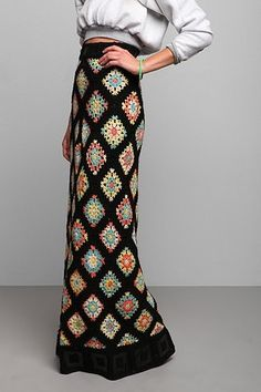 Vintage '70s Crocheted Granny Maxi Skirt