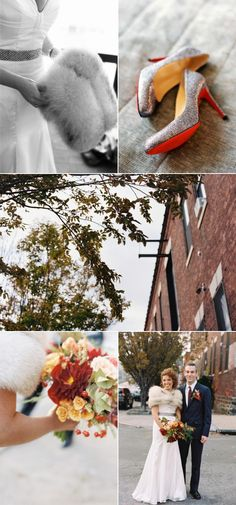 another pin from the same fall city wedding: love the fur, gorgeous flowers...