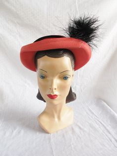 40's 50's Vintage Coral Color Hat with Horse by MyVintageHatShop, $56.00